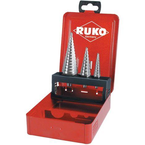 RUKO 101326 - Juego de 3 brocas escalonadas HSS, 3 canales de salida (0/9,1 y 2)