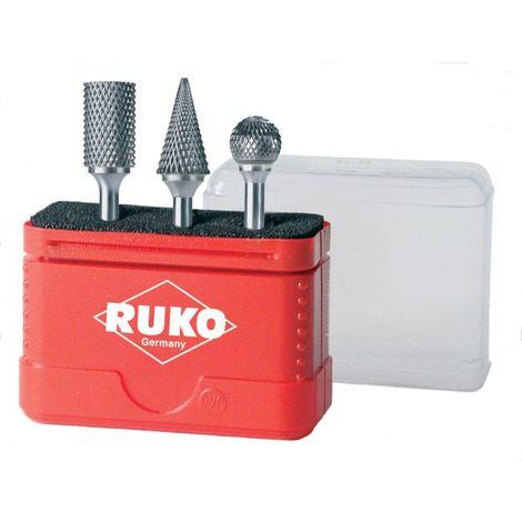 RUKO 116001 - Juego de 3 fresas de metal duro con vástago de 6 mm