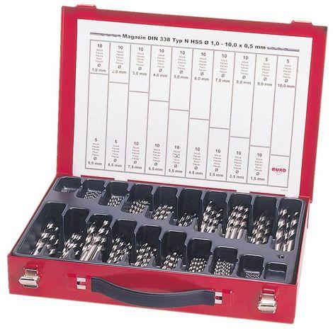RUKO 214200 - Juego brocas HSS rectificadas en caja metálica - 170 piezas