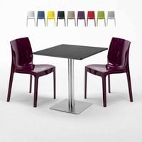 RUM RAISIN Set Made of a 70x70cm Black Square Table and 2 Colourful ICE Chairs