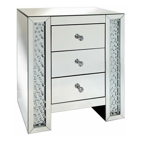 Rumba Sophisticated Mirror Glass Bedside Table Glass Crystal DeCorisation - 3 Drawer