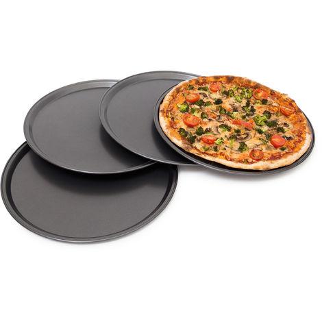 rundes Pizzablech, Backblech 4er Set, Backset aus beschichtetem Carbonstahl, Pizza & Flammkuchen, 33cm Ø, grau