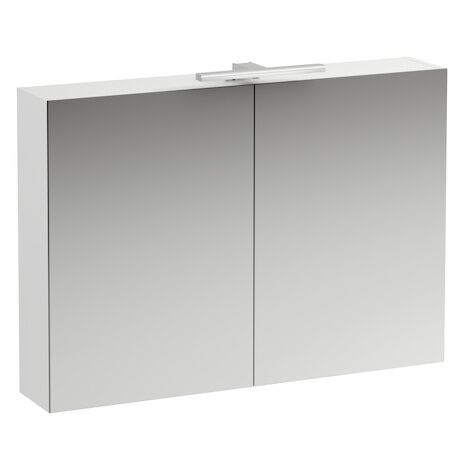 Running Base mirror cabinet 1000 mm, 2 doors, LED light element, colour: Snow (white matt) - H4028521102601