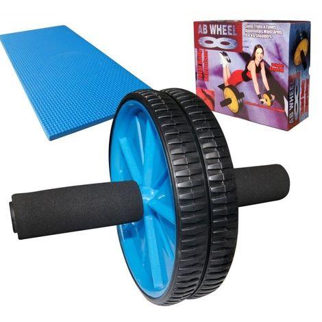 Ruota Addominale, Rullo Ab Con Ginocchiera, Blu, Carico massimo: 100 kg