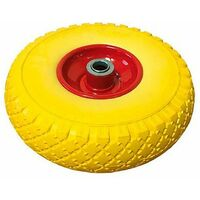 Ruota gialla antiforatura per carriole e carrelli
