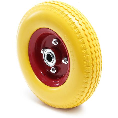 Ruota gialla in PU per carriola con cerchione Adatta per asse 2.80/2.50-4 A prova di foratura