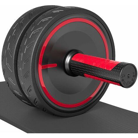 Ruote addominali LITZEE Ab Roller / Wheel con ginocchiere spesse, rosse / nere