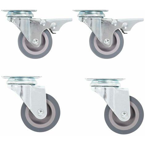 10 Ruote in gomma Ruote per sedie da ufficio da 50 mm Rotelle gemelle di ricambio Steli universali girevoli Per 2 sedie