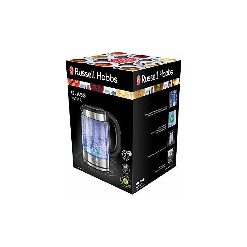 Russell Hobbs 21600-57 Bouilloire Glass Acier chromé et noir 1, 70 Litre, 2200