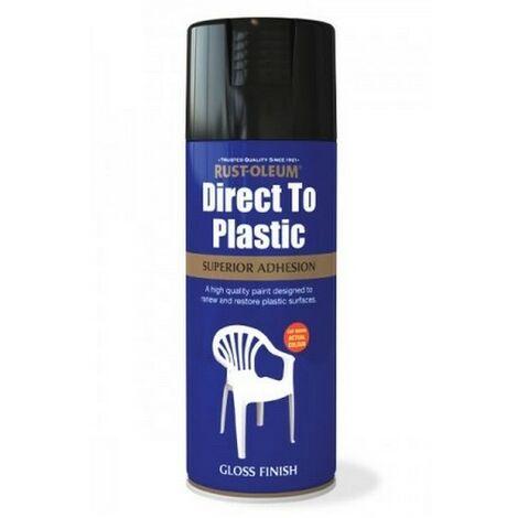 Rust-Oleum AE0030002E8 Direct To Plastic Black Gloss Spray Paint 400ml