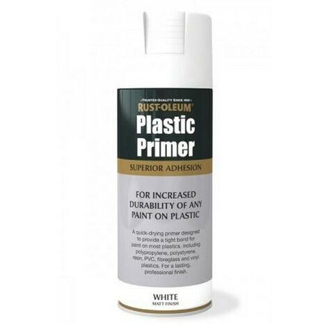 Rust-Oleum AE0030003E8 Plastic Primer Matt White Spray Paint 400ml