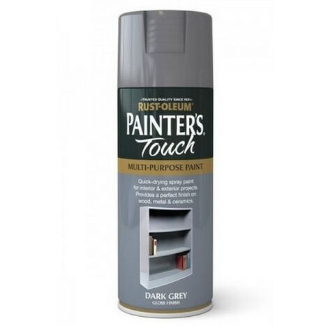 Rust-Oleum AE0040015E8 Painters Touch Dark Grey Gloss Multi Purpose Spray Paint 400ml