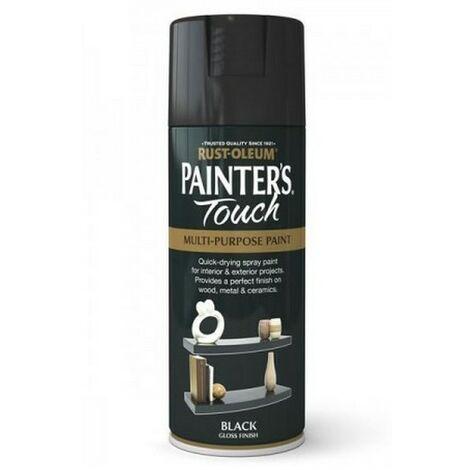 Rust-Oleum AE0040026E8 Painters Touch Black Gloss Multi Purpose Spray Paint 400ml