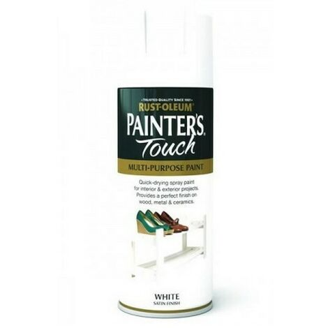 Rust-Oleum AE0050002E8 Painters Touch White Satin Multi Purpose Spray Paint 400ml