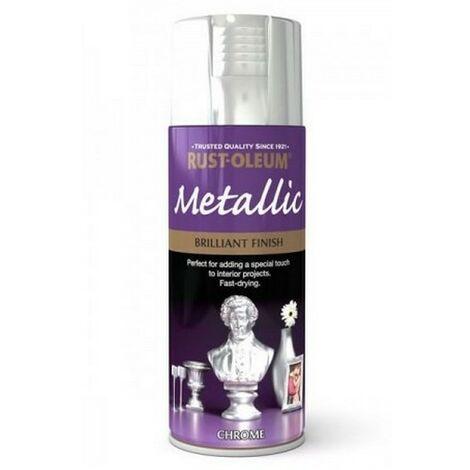 Rust-Oleum AE0120002E8 Metallic Brilliant Bright Chrome Spray Paint 400ml