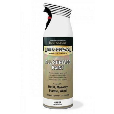 Rust-Oleum AE0160002E8 Universal All Surface White Satin Spray Paint 400ml