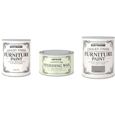 Rust-Oleum Chalky Chalk White and Winter Grey Matt Furniture Paint 750ml Complete With Wax