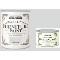 Rust-Oleum Chalky Furniture Paint Winter Grey 2.5L Complete with Furniture Wax