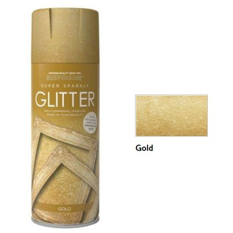 Rust-Oleum Glitter Finish Spray Paint - 400ml - Gold, Silver and Sealer