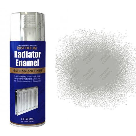 Rust-Oleum Radiator Enamel 400ml White Gloss Satin Metallic Silver Chrome Grey Heirloom