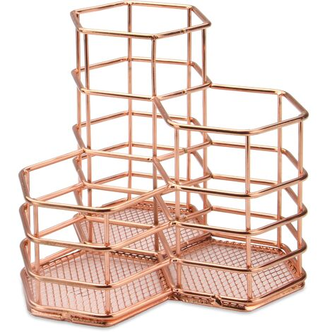 """main image of """"Rust Proof Rose Gold Hexagonal Desk Tidy for Office Organising with Pencil & Makeup Brush Holder   M&W - Rose Gold"""""""