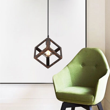 Rust Unique Geometric Cube Pendant Light Square Metal Ceiling Lamp E27 Retro Suspension Lighting Restaurant Drop light for Loft Cafe Bar