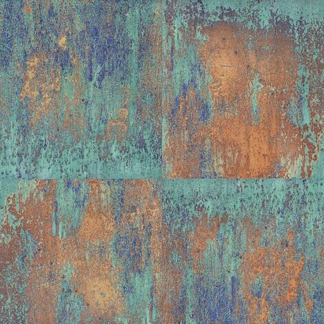 Rusted Panel Effect Wallpaper AS Creation Green Industrial Paste The Wall Vinyl