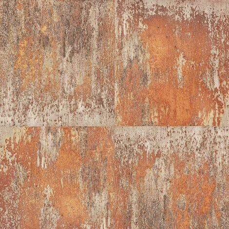 Rusted Panel Effect Wallpaper AS Creation Orange Industrial Paste The Wall Vinyl