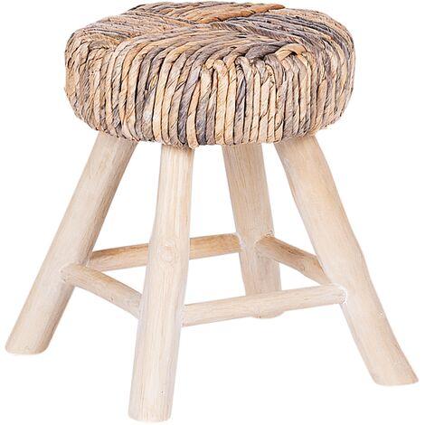 Rustic Bedside Table Light Wood Legs Beige Grey Top Footstool Natural Wood Ortiz