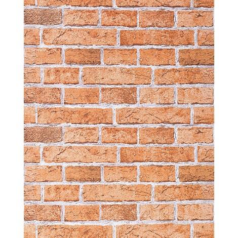 Rustic brick wallpaper wall EDEM 583-23 decorative vintage mural stone look vinyl orange-brown