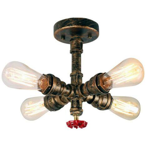 Rustic Ceiling Lamp Retro Chandelier Industrial Ceiling Light Creative Water Pipe Ceiling Light Vintage Ceiling Light(4 Lamp Holders)