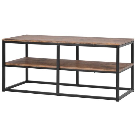 Rustic Console Table for Entryway, Industrial Sofa/Entry Table with Storage Open Bookshelf