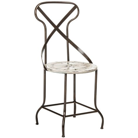 Rustic Cream Finish Antique Style Metal Chair For Garden/Outdoor