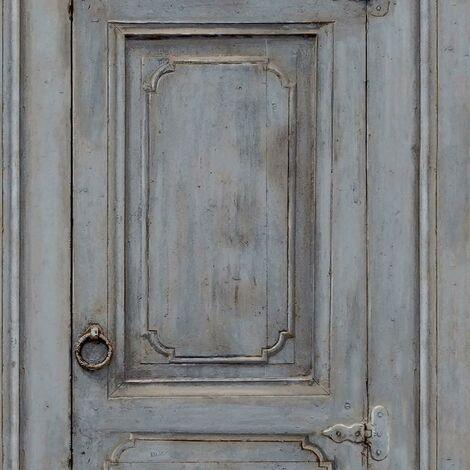 Rustic Cupboards Wallpaper Muriva Blue Grey Wood Effect Paste The Wall Vinyl
