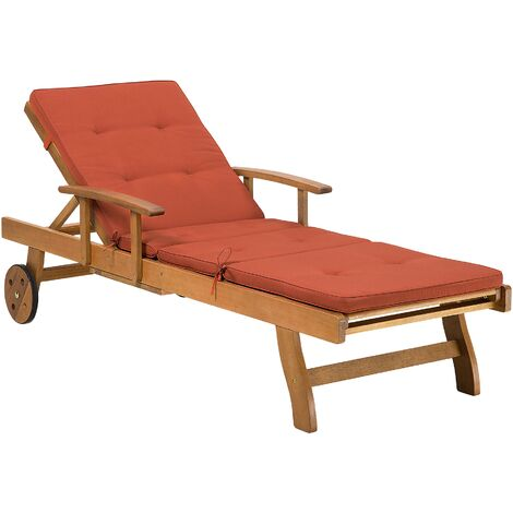 """main image of """"Rustic Garden Sun Lounger Acacia Wood Reclining with Castors Red Cushion Java"""""""
