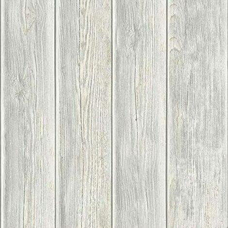 Rustic Grey White Distressed Wood Panel Plank Wooden Effect Vinyl Wallpaper