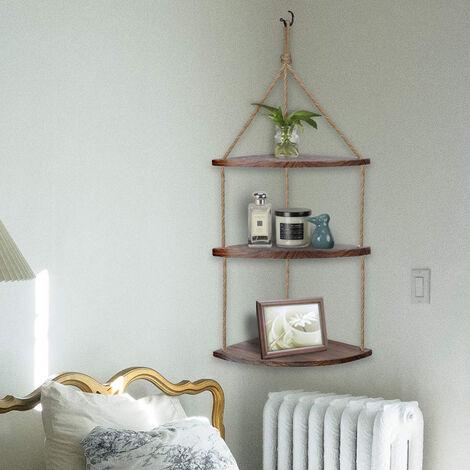 Rustic Hanging Swing Corner Shelves Solid Wood Rope Ladder Floating Shelf Storag