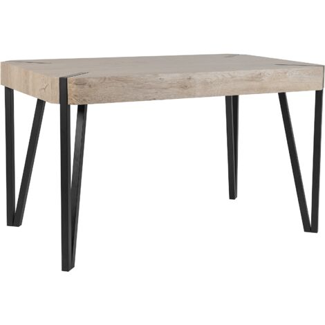 Rustic Industrial Dining Table MDF 130 x 80 cm Light Wood Top Black Legs Cambell