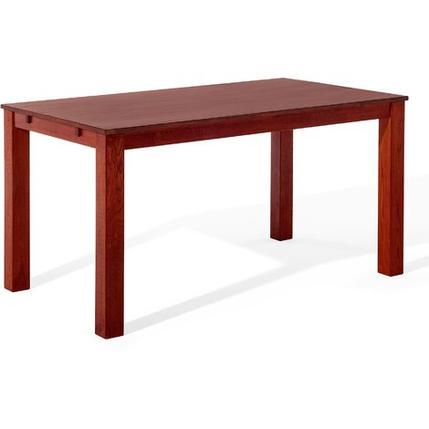 Rustic Modern Solid Oak Dining Table Dark Red Rectangular 180 x 85 cm Maxima