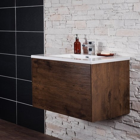 Rustic Oak 900 mm Wall Hung Vanity Unit with Basin