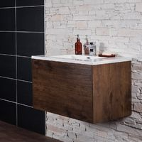 Rustic Oak 900 mm Wall Hung Vanity Unit with Basin
