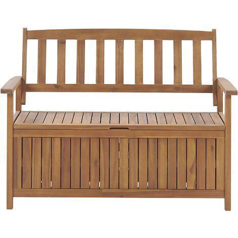 Rustic Outdoor Patio Storage Bench Solid Acacia Wood 120 cm Sovana
