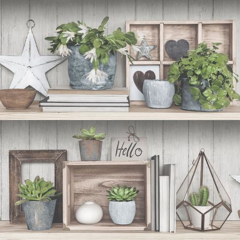 Rustic Shelf Potted Plants Wallpaper Floral Green Grey Brown Paste Wall Vinyl