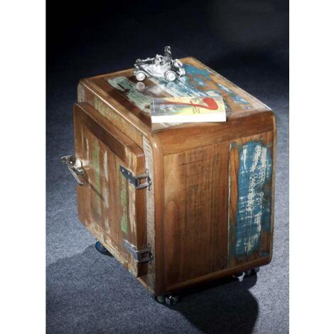 Rustic Side Cabinet Vintage Industrial Furniture Wooden Bedside Table Metal Unit