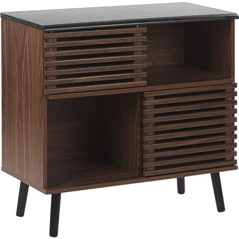 """main image of """"Rustic Sideboard 2 Tier Sliding Doors Slatted Front Stand Dark Wood Perth"""""""