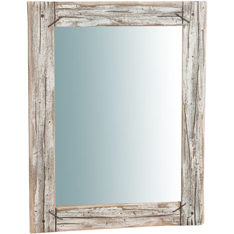 RUSTIC solid wood made Hanging Wall Mirror