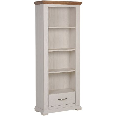 Rustic Tall 4 Tiers Bookshelf 1 Drawer Engineered Wood White Dark Top Kingston