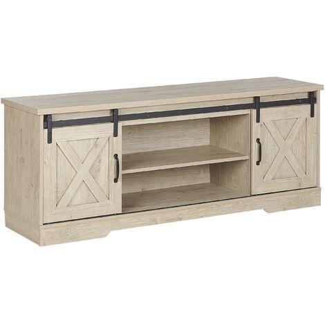 Rustic TV Stand Storage Unit with Shelves Sliding Doors Light Wood Ulan