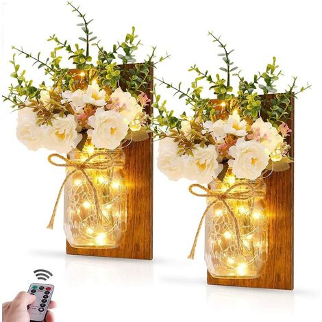 Rustic Wall Sconces Hanging Mason Jar Wall Light with Wrought Iron Hooks LED Strips Lights Battery Operated for Home Garden Christmas Decoration (Set of 2)