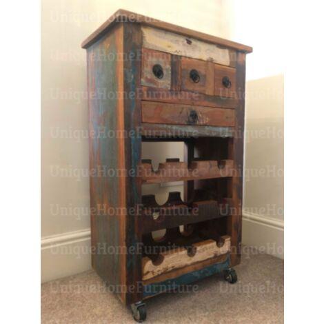 Rustic Wine Cabinet Industrial Style Furniture Metal Drinks Trolley Vintage Cart